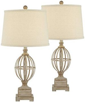 Sloan Modern Farmhouse Table Lamps Set Of 2 Faux Light Oak Wood Open Orb Cage Oatmeal Tapered Drum Shade For Living Room Bedroom Bedside Nightstand Office Family Regency Hill 0 0 300x360