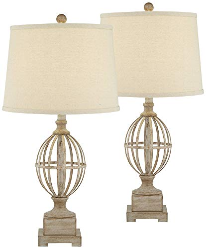 Sloan Modern Farmhouse Table Lamps Set Of 2 Faux Light Oak Wood Open Orb Cage Oatmeal Tapered Drum Shade For Living Room Bedroom Bedside Nightstand Office Family Regency Hill 0 0