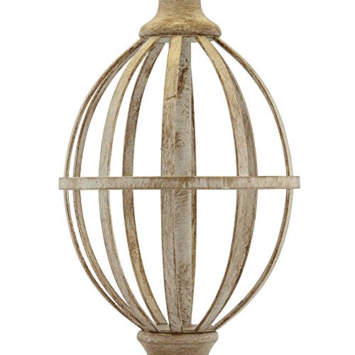 Sloan Modern Farmhouse Table Lamps Set Of 2 Faux Light Oak Wood Open Orb Cage Oatmeal Tapered Drum Shade For Living Room Bedroom Bedside Nightstand Office Family Regency Hill 0 3