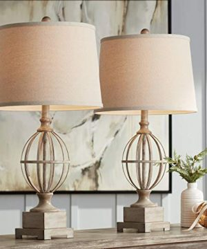Sloan Modern Farmhouse Table Lamps Set Of 2 Faux Light Oak Wood Open Orb Cage Oatmeal Tapered Drum Shade For Living Room Bedroom Bedside Nightstand Office Family Regency Hill 0 300x360