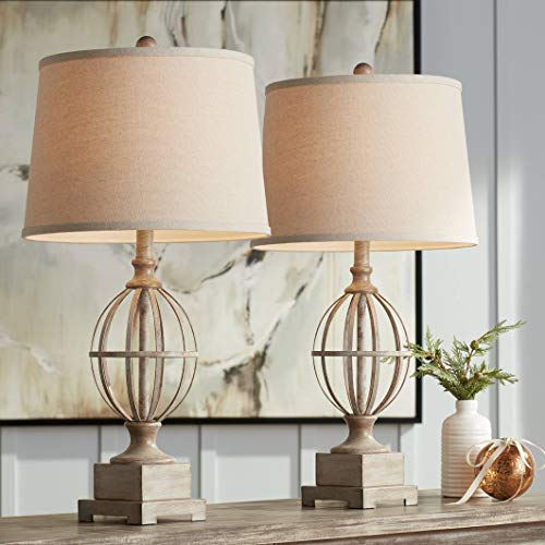 Sloan Modern Farmhouse Table Lamps Set Of 2 Faux Light Oak Wood Open Orb Cage Oatmeal Tapered Drum Shade For Living Room Bedroom Bedside Nightstand Office Family Regency Hill 0