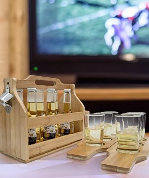 Sorbus Wooden Bottle Caddy With Opener Sampler Boards Drink Holder For Beer Soda Perfect For Bar Pub Restaurant Brew Fest Party And More Bamboo 0 0 300x360