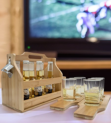 Sorbus Wooden Bottle Caddy With Opener Sampler Boards Drink Holder For Beer Soda Perfect For Bar Pub Restaurant Brew Fest Party And More Bamboo 0 0