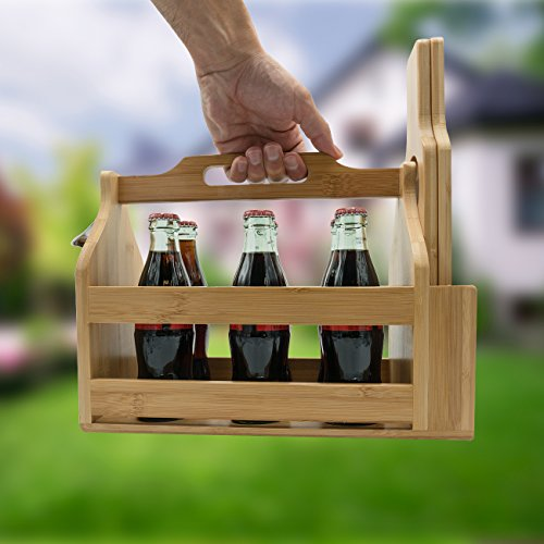 Sorbus Wooden Bottle Caddy With Opener Sampler Boards Drink Holder For Beer Soda Perfect For Bar Pub Restaurant Brew Fest Party And More Bamboo 0 1