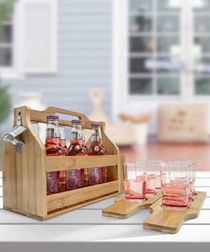 Sorbus Wooden Bottle Caddy With Opener Sampler Boards Drink Holder For Beer Soda Perfect For Bar Pub Restaurant Brew Fest Party And More Bamboo 0 2 300x360
