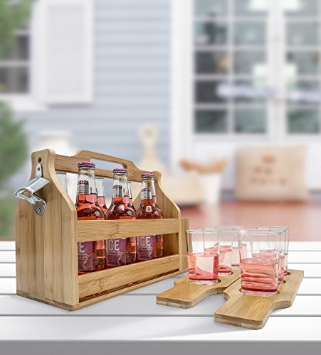 Sorbus Wooden Bottle Caddy With Opener Sampler Boards Drink Holder For Beer Soda Perfect For Bar Pub Restaurant Brew Fest Party And More Bamboo 0 2