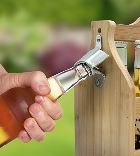 Sorbus Wooden Bottle Caddy With Opener Sampler Boards Drink Holder For Beer Soda Perfect For Bar Pub Restaurant Brew Fest Party And More Bamboo 0 3