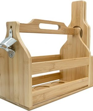 Sorbus Wooden Bottle Caddy With Opener Sampler Boards Drink Holder For Beer Soda Perfect For Bar Pub Restaurant Brew Fest Party And More Bamboo 0 4 300x360