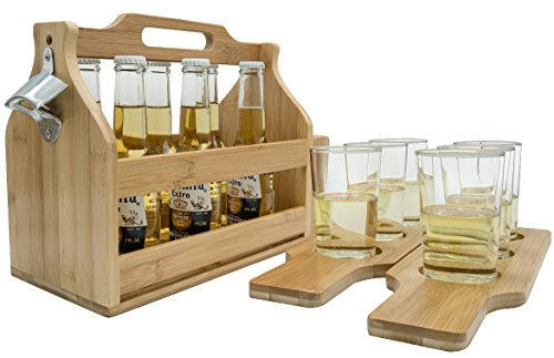 Sorbus Wooden Bottle Caddy With Opener Sampler Boards Drink Holder For Beer Soda Perfect For Bar Pub Restaurant Brew Fest Party And More Bamboo 0
