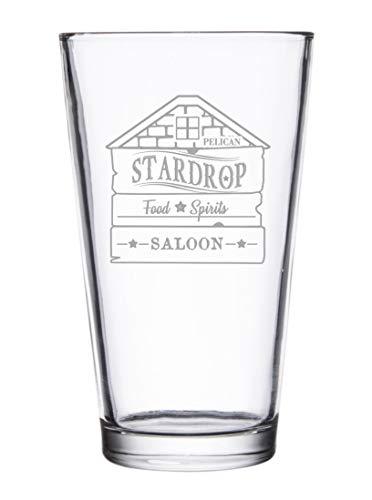 Stardrop Saloon Rustic Bar Food Game Parody Sign Logo Laser Engraved Pint Glasses For Beer 16 Oz Stein 0