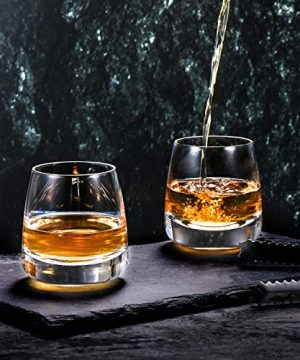 TOOWELL Old Fashioned Whiskey Glass Set Of 2 Cocktails Glasses Hand Blown Scotch Glass Tumblers Heavy Base 9OZ Rocks Glasses Perfect For Bourbon Scotch Manhattans Cocktails 0 2 300x360