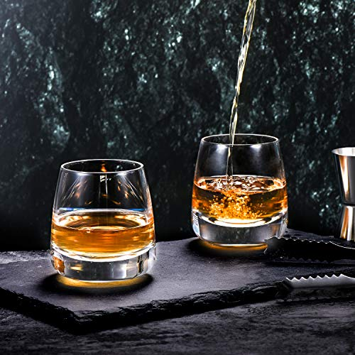 TOOWELL Old Fashioned Whiskey Glass Set Of 2 Cocktails Glasses Hand Blown Scotch Glass Tumblers Heavy Base 9OZ Rocks Glasses Perfect For Bourbon Scotch Manhattans Cocktails 0 2