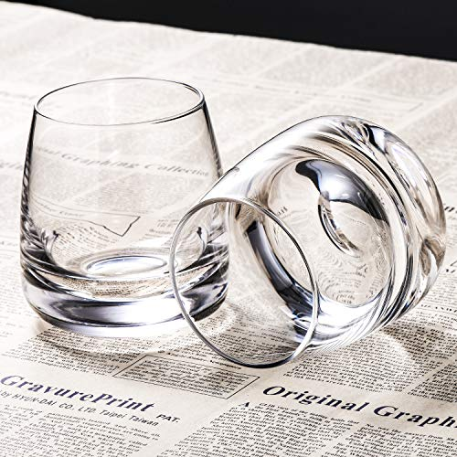 TOOWELL Old Fashioned Whiskey Glass Set Of 2 Cocktails Glasses Hand Blown Scotch Glass Tumblers Heavy Base 9OZ Rocks Glasses Perfect For Bourbon Scotch Manhattans Cocktails 0 4