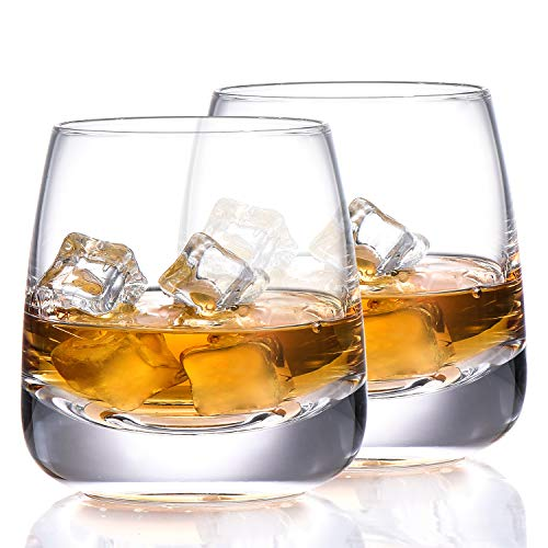 TOOWELL Old Fashioned Whiskey Glass Set Of 2 Cocktails Glasses Hand Blown Scotch Glass Tumblers Heavy Base 9OZ Rocks Glasses Perfect For Bourbon Scotch Manhattans Cocktails 0