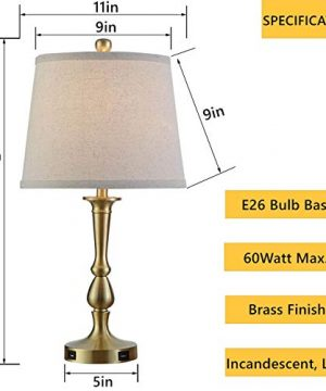 Table Lamp Set Of 2 Vintage USB Table Lamps With Beige Drum Shade 22 Metal Bedside Nightstand Lamps For Bedroom Living Room Brass Finish 0 0 300x360
