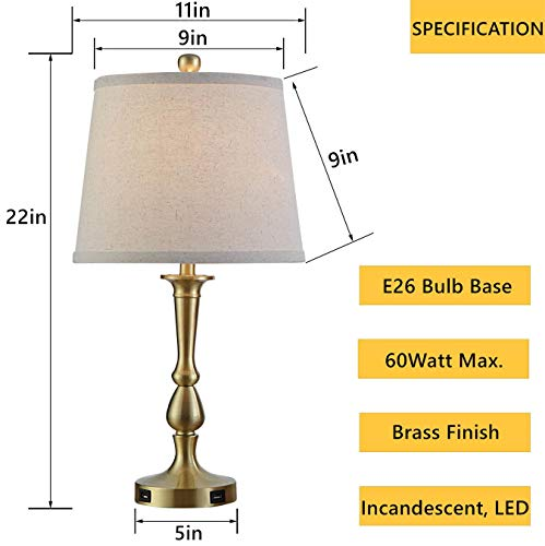 Table Lamp Set Of 2 Vintage USB Table Lamps With Beige Drum Shade 22 Metal Bedside Nightstand Lamps For Bedroom Living Room Brass Finish 0 0