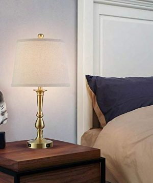 Table Lamp Set Of 2 Vintage USB Table Lamps With Beige Drum Shade 22 Metal Bedside Nightstand Lamps For Bedroom Living Room Brass Finish 0 3 300x360