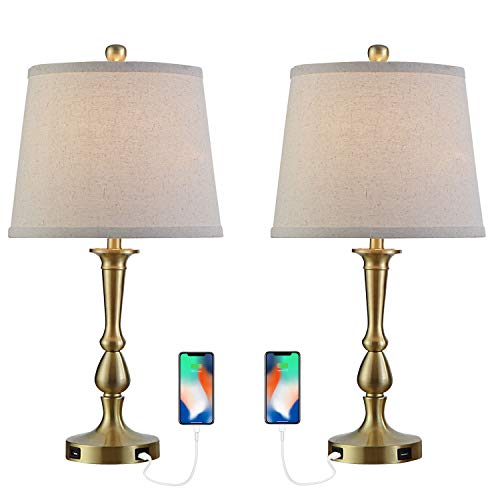 Table Lamp Set Of 2 Vintage USB Table Lamps With Beige Drum Shade 22 Metal Bedside Nightstand Lamps For Bedroom Living Room Brass Finish 0