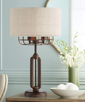 Tremont Rustic Farmhouse Table Lamp Bronze Iron Cage Burlap Fabric Drum Shade 3 Light For Living Room Bedroom Bedside Nightstand Office Family Franklin Iron Works 0 300x360