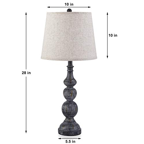 USB Bedside Lamp Set Of 2 Farmhouse Table Lamp With Deep Beige Lampshade Bedroom Vintage Lamp With Dual USB Ports For Bedroom Living Room 0 1