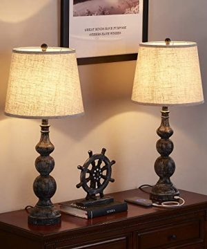 USB Bedside Lamp Set Of 2 Farmhouse Table Lamp With Deep Beige Lampshade Bedroom Vintage Lamp With Dual USB Ports For Bedroom Living Room 0 2 300x360