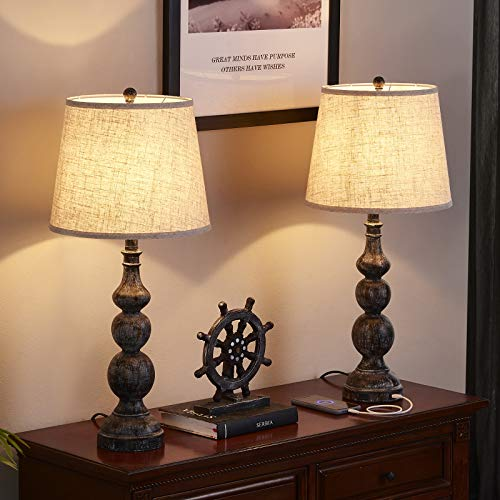 USB Bedside Lamp Set Of 2 Farmhouse Table Lamp With Deep Beige Lampshade Bedroom Vintage Lamp With Dual USB Ports For Bedroom Living Room 0 2