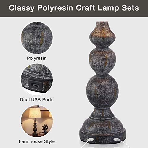 USB Bedside Lamp Set Of 2 Farmhouse Table Lamp With Deep Beige Lampshade Bedroom Vintage Lamp With Dual USB Ports For Bedroom Living Room 0 4