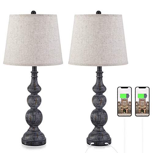 USB Bedside Lamp Set Of 2 Farmhouse Table Lamp With Deep Beige Lampshade Bedroom Vintage Lamp With Dual USB Ports For Bedroom Living Room 0