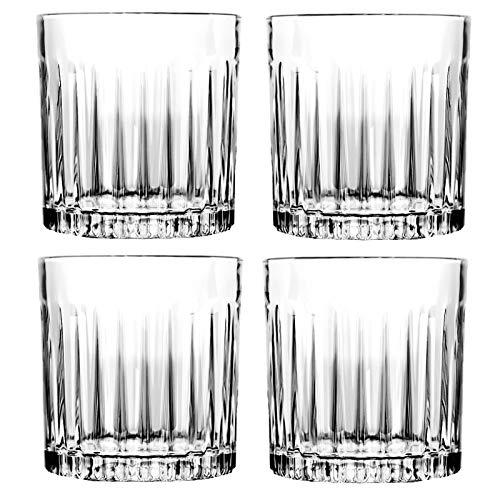 Whiskey Glass Set Of 4 8 Ounce Old Fashioned Rocks Glasses Tumblers Glassware For Cocktail Scotch Bourbon Gin Voldka Brandy 0