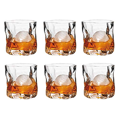 Whiskey Glasses 11oz Set Of 6 Rocks Glasses Old Fashioned Glass Whiskey Glass Drinking Bourbon Scotch Glasses Old Fashioned Cocktail LoversStyle Glassware For BourbonRum Twisted Cup Transparent 0