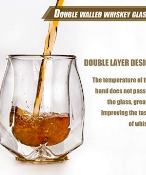 Whiskey Glasses Set Of 2 Hand Blown Double Walled Glass With Premium Gift Box Unique Whisky Tumblers Scotch Rocks Glasses Perfect For Scotch Bourbon And Old Fashioned Cocktails 0 0 300x360