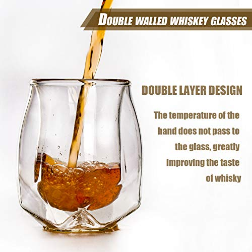 Whiskey Glasses Set Of 2 Hand Blown Double Walled Glass With Premium Gift Box Unique Whisky Tumblers Scotch Rocks Glasses Perfect For Scotch Bourbon And Old Fashioned Cocktails 0 0