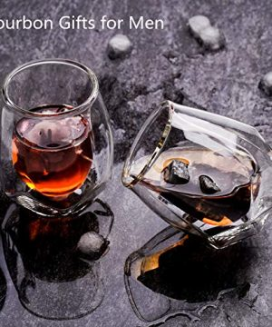Whiskey Glasses Set Of 2 Hand Blown Double Walled Glass With Premium Gift Box Unique Whisky Tumblers Scotch Rocks Glasses Perfect For Scotch Bourbon And Old Fashioned Cocktails 0 1 300x360