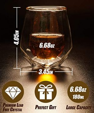 Whiskey Glasses Set Of 2 Hand Blown Double Walled Glass With Premium Gift Box Unique Whisky Tumblers Scotch Rocks Glasses Perfect For Scotch Bourbon And Old Fashioned Cocktails 0 3 300x360