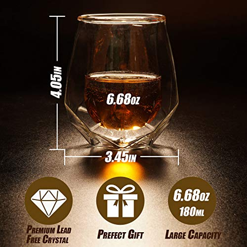 Whiskey Glasses Set Of 2 Hand Blown Double Walled Glass With Premium Gift Box Unique Whisky Tumblers Scotch Rocks Glasses Perfect For Scotch Bourbon And Old Fashioned Cocktails 0 3