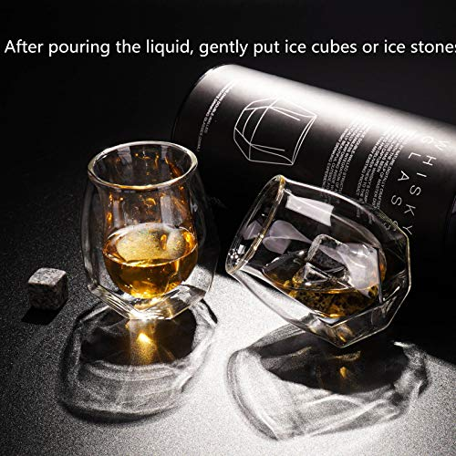 Whiskey Glasses Set Of 2 Hand Blown Double Walled Glass With Premium Gift Box Unique Whisky Tumblers Scotch Rocks Glasses Perfect For Scotch Bourbon And Old Fashioned Cocktails 0 4