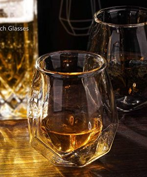 Whiskey Glasses Set Of 2 Hand Blown Double Walled Glass With Premium Gift Box Unique Whisky Tumblers Scotch Rocks Glasses Perfect For Scotch Bourbon And Old Fashioned Cocktails 0 5 300x360