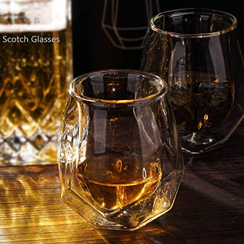 Whiskey Glasses Set Of 2 Hand Blown Double Walled Glass With Premium Gift Box Unique Whisky Tumblers Scotch Rocks Glasses Perfect For Scotch Bourbon And Old Fashioned Cocktails 0 5