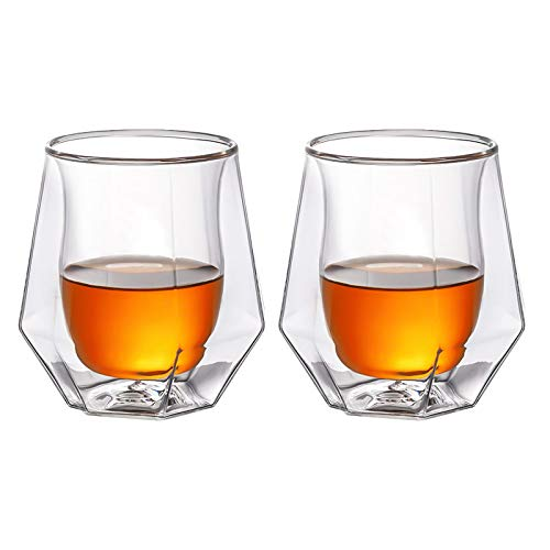 Whiskey Glasses Set Of 2 Hand Blown Double Walled Glass With Premium Gift Box Unique Whisky Tumblers Scotch Rocks Glasses Perfect For Scotch Bourbon And Old Fashioned Cocktails 0