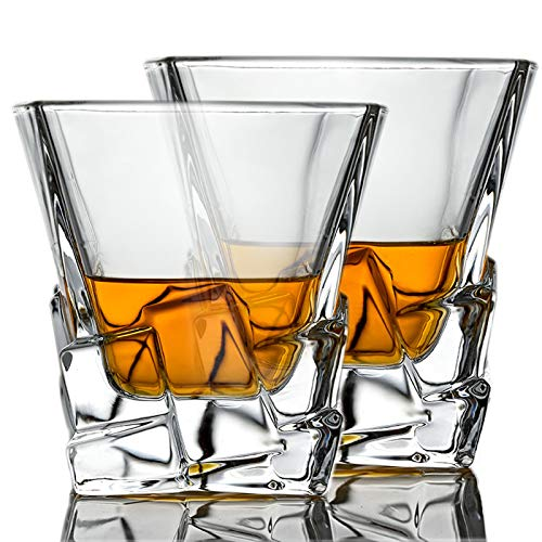 Whiskey Glasses Set Of 2 Thick Weighted Bottom Rocks Glasses 10 Oz Old Fashioned Whiskey Glass Premium Scotch Glasses Perfect For Bourbon Old Fashioned Scotch And Cocktails 0