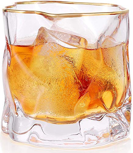 Whiskey Glasses Stylish 10 OZ 1pcs Thick Bottom Old Fashioned Rock Drinking Glassware Perfect For Scotch Bourbon And Cocktail Tumblers Fathers Day GiftClear 0