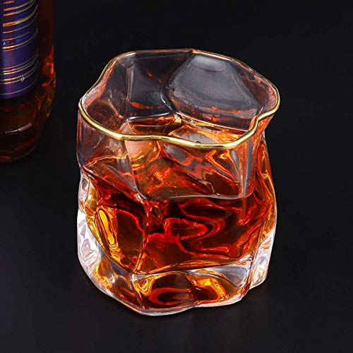 Whiskey Glasses Stylish 10 OZ Set Of 2 Thick Bottom Old Fashioned Rock Drinking Glassware Perfect For Scotch Bourbon And Cocktail Tumblers Fathers Day GiftClear 0 1
