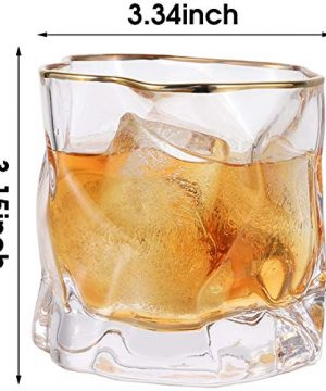 Whiskey Glasses Stylish 10 OZ Set Of 2 Thick Bottom Old Fashioned Rock Drinking Glassware Perfect For Scotch Bourbon And Cocktail Tumblers Fathers Day GiftClear 0 4 300x360