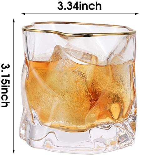 Whiskey Glasses Stylish 10 OZ Set Of 2 Thick Bottom Old Fashioned Rock Drinking Glassware Perfect For Scotch Bourbon And Cocktail Tumblers Fathers Day GiftClear 0 4