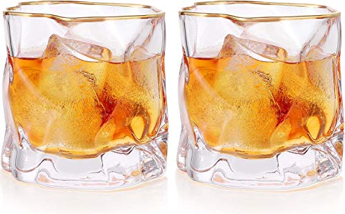 Whiskey Glasses Stylish 10 OZ Set Of 2 Thick Bottom Old Fashioned Rock Drinking Glassware Perfect For Scotch Bourbon And Cocktail Tumblers Fathers Day GiftClear 0