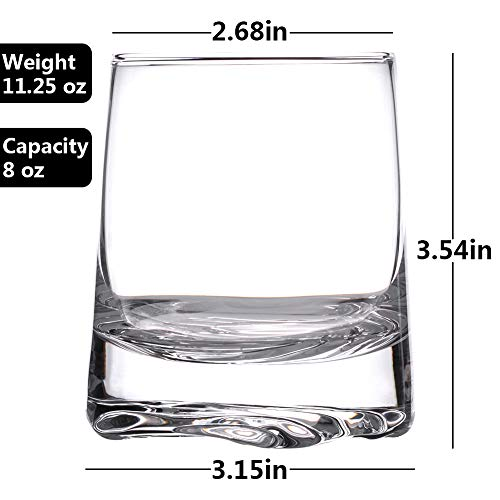 Zfitei Ripple Whiskey Glasses Set Of 2Hand Blown Crystal Glasses8oz Thick Weighted Bottom Rocks GlassPerfect For Old Fashioned CocktailBourbonScotch 0 0