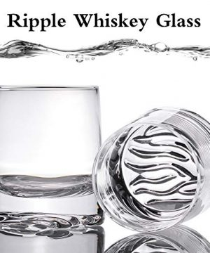 Zfitei Ripple Whiskey Glasses Set Of 2Hand Blown Crystal Glasses8oz Thick Weighted Bottom Rocks GlassPerfect For Old Fashioned CocktailBourbonScotch 0 1 300x360