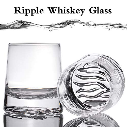 Zfitei Ripple Whiskey Glasses Set Of 2Hand Blown Crystal Glasses8oz Thick Weighted Bottom Rocks GlassPerfect For Old Fashioned CocktailBourbonScotch 0 1