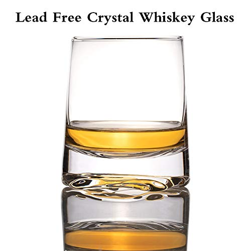 Zfitei Ripple Whiskey Glasses Set Of 2Hand Blown Crystal Glasses8oz Thick Weighted Bottom Rocks GlassPerfect For Old Fashioned CocktailBourbonScotch 0 2
