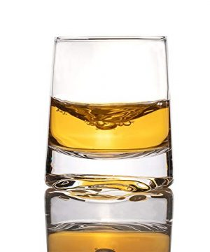 Zfitei Ripple Whiskey Glasses Set Of 2Hand Blown Crystal Glasses8oz Thick Weighted Bottom Rocks GlassPerfect For Old Fashioned CocktailBourbonScotch 0 4 300x360